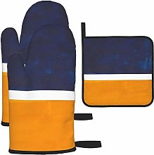 Oven Gloves and Pot Holders Sets,Navy Blue Yellow