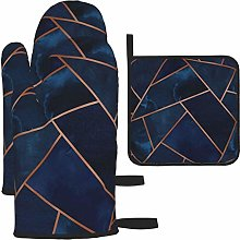 Oven Gloves and Pot Holders Sets,Navy Copper