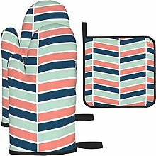 Oven Gloves and Pot Holders Sets,Navy Coral and