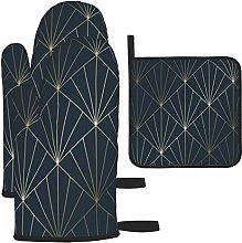 Oven Gloves and Pot Holders Sets,Navy