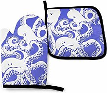 Oven Gloves and Pot Holders Sets Octopus Purple