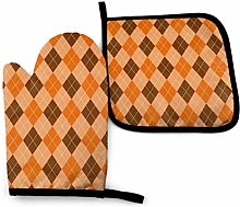 Oven Gloves and Pot Holders Sets Orange and Brown