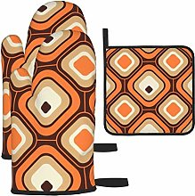 Oven Gloves and Pot Holders Sets,Orange Brown and