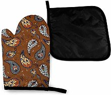 Oven Gloves and Pot Holders Sets,Paisley Boho