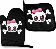 Oven Gloves and Pot Holders Sets Pink Bow Skull