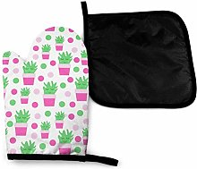 Oven Gloves and Pot Holders Sets,Pink Cactus
