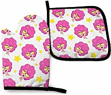Oven Gloves and Pot Holders Sets,Pink Haired Girl