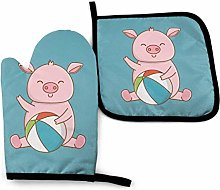 Oven Gloves and Pot Holders Sets,Pink Piggy