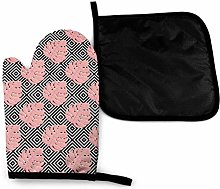 Oven Gloves and Pot Holders Sets,Pink Tropical