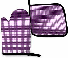 Oven Gloves and Pot Holders Sets Purple and White