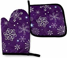 Oven Gloves and Pot Holders Sets Purple Christmas