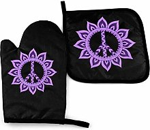 Oven Gloves and Pot Holders Sets Purple Flower