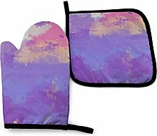 Oven Gloves and Pot Holders Sets Purple Gradient