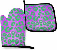 Oven Gloves and Pot Holders Sets Purple Leopard