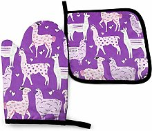 Oven Gloves and Pot Holders Sets Purple Loving