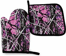 Oven Gloves and Pot Holders Sets Purple Withered