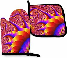 Oven Gloves and Pot Holders Sets Red Psychedelic