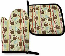 Oven Gloves and Pot Holders Sets Sloth Brown