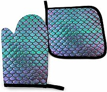 Oven Gloves and Pot Holders Sets Teal Gold Mermaid