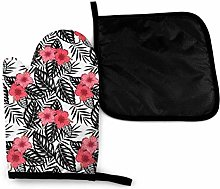 Oven Gloves and Pot Holders Sets,Tropical Pink