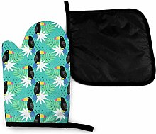 Oven Gloves and Pot Holders Sets,Tropical Toucans