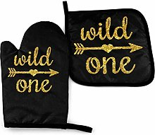 Oven Gloves and Pot Holders Sets Wild One Gold
