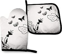Oven Gloves Black Gray Butterflies Kitchen Oven