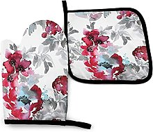 Oven Gloves Blue Large Burgundy Red Watercolor