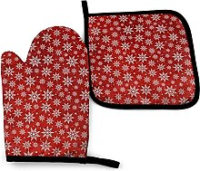 Oven Gloves Christmas Snowflakes Red Pattern Oven