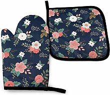 Oven Gloves Floral Sweet Bouquets In Navy And