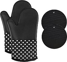 Oven Gloves Heat Resistant for 572°F, Silicone