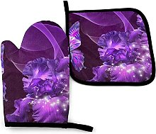 Oven Gloves Purple Butterfly Kitchen Oven Mitts