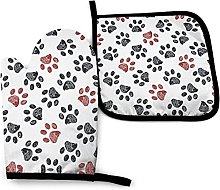Oven Gloves Red Paw Prints Oven Mitts and Pot