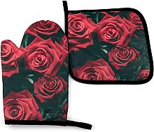 Oven Gloves Red Rose Kitchen Oven Mitts and Pot
