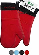 Oven Gloves Set of 2 - Red Silicone Oven Mitts