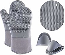 Oven Gloves Set, Silicone Oven Glove Heat