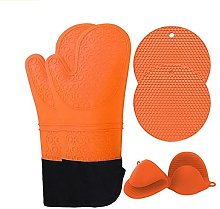 Oven Gloves, Silicone Mitts Heat Resistant+2 Pot