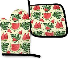 Oven Gloves Watermelon Red and Leaves Oven Mitts