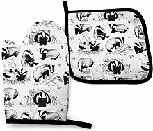 Oven Mitt and Pot Holder Set,Badgers Playtime Oven