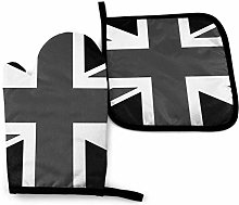 Oven Mitt and Pot Holder Set,Black and White Union