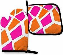 Oven Mitt and Pot Holder Set,Funky Hot Pink Orange