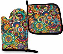 Oven Mitt and Pot Holder Set,Funky Oven Glove and