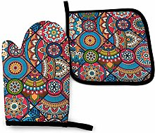Oven Mitt and Pot Holder Set,Pink Tribal Moroccan