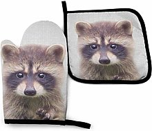 Oven Mitt and Pot Holder Set,Raccoon Colorful Oven
