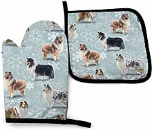 Oven Mitt and Pot Holder Set,The Rough Collie