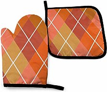 ~ Oven Mitt and Potholder, Argyle Plaid in Coral