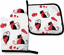 Oven Mitt and Potholder Black Red Cat Heart Gloves