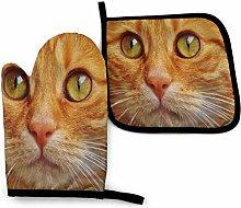 Oven Mitt and Potholder Brown Cat Gloves Pot