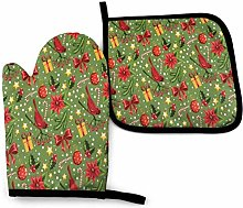 Oven Mitt and Potholder Christmas Red Cardinal