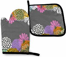 Oven Mitt and Potholder Colorful Flowers Gray